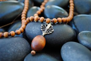 Vintage Wood Bead and Filigree Necklace ( Natural) by thumbelyna