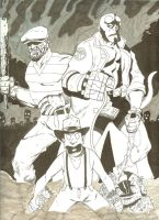 The Goon and Hellboy by hollenhors