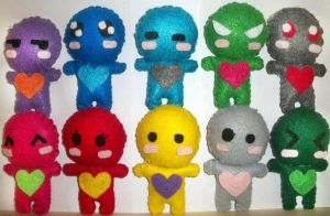 Colorful Heart Plushies by MelzyV