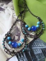 boho chic wire wrapped earrings with turquoise by Lirimaer86