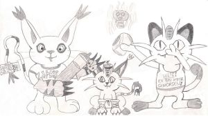 Meowth, Gatomon and their Baby by TamerOfAstamon
