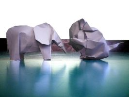 Mouse and Elephant - Origami by mitanei