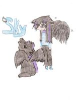 Winged wolf: Sky by CrazyLittleWolf
