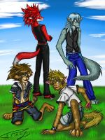 Kingdom Hearts Anthros: Axel Roxas Sora Riku by Cathey18
