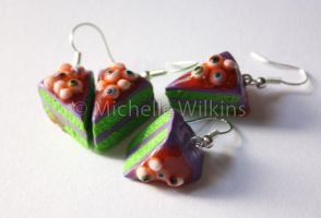 Eyeball Cake Earrings by DragonsDust
