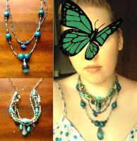 Turquoise and Teal Necklaces by ammajiger