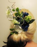 Curly, whimsical floral hair piece -backview by SomethingTeal