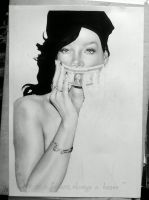 Rihanna Pencil art WIP1, for a friend by turanneth