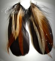 Black and Auburn Feather Earrings by Aeltari