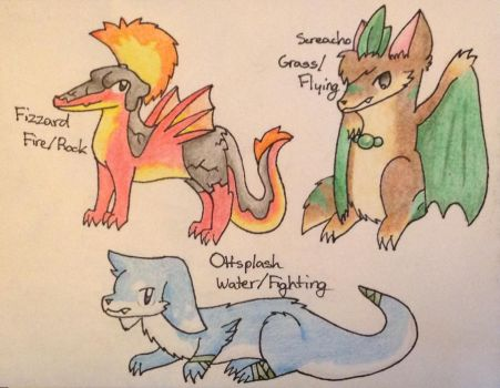 My Fakemon Starters, But Evolved by pheonix548
