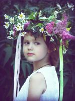 the girl in a flower wreath by Volodina-Yulia