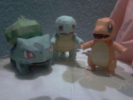 pokemon kanto starters papercraft by javierini