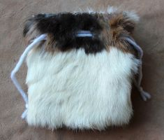 Patchwork Rabbit Fur Pouch by lupagreenwolf