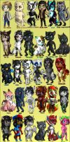 103 Original characters by FuriarossaAndMimma