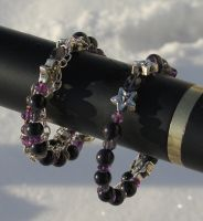 Amethyst Iolite Blue Goldstone Coil Bracelets 1 by Windthin