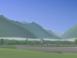 cemetary valley in rising sun by hermik