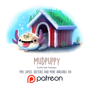 Daily Paint 1459. Mudpuppy by Cryptid-Creations