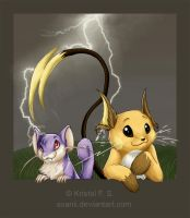 Raichu and Rattata by Avanii