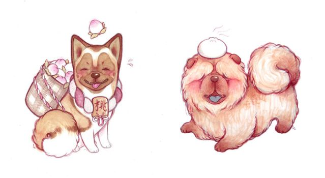 Akita and Chow by lindsaycampbell