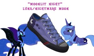 Luna + Nightmare Moon shoes by DoctorRedBird