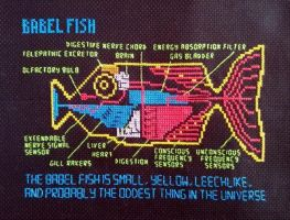 Babel Fish cross stitch pattern Hitchhiker's Guide by jen-random