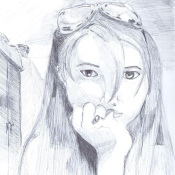 First year drawing class exercise - self portrait by australianmax