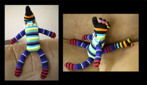 Stripey sock monster by StuffItCreations