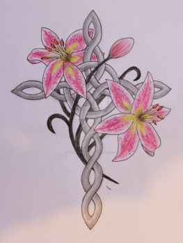 Celtic cross and stargazer lilies tattoo design by Living-Life-Loud