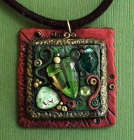 Copper and Green Pendant by MandarinMoon