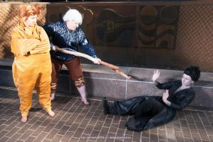 Pitch begging for Mercy from Jack Frost and Sandy. by Toriachan