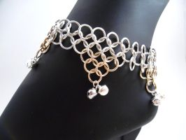 Gold and Sterling Gypsy Bell Anklet - Displayed by SerenityinChains