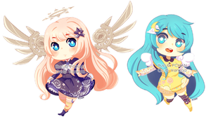 Chibi commission: Astraias and Luna by AkatsukiZakuro