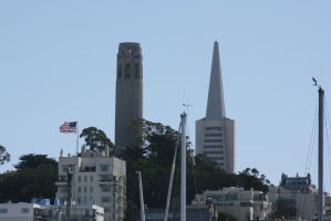 Coit Tower and Transamerica Pyramid by Dr-J-Zoidberg