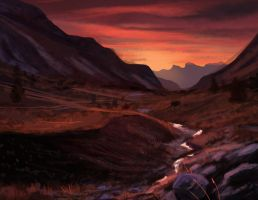 Speed Painting: Mountains/Sunset by Art-of-Sekhmet