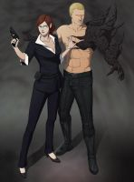 Commission:Claire and Wesker by doubleleaf