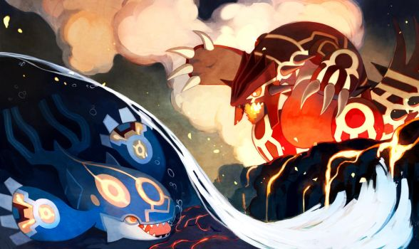 Kyogre and Groudon by bluekomadori