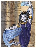 Watercolor Egyptian Tigress Auction by lady-cybercat