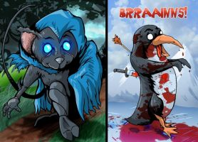 Shadowmouse and Zombie Penguin by MachSabre