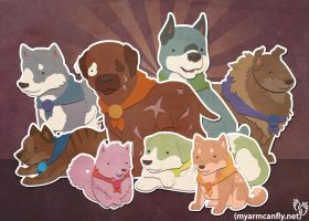 The 8 Canine Warriors by myarmcanfly
