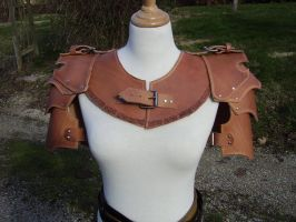 Leather spaulders and gorget by VampsFire