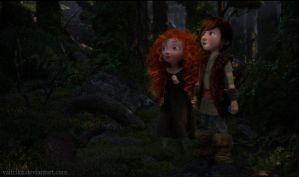 Little Hiccup and Merida in the forest by Valfrika