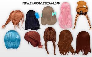 MMD Female Hairstyles DL by UnluckyCandyFox