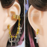 Gold and Silver Cross Cartilage Chain Earrings by merigreenleaf