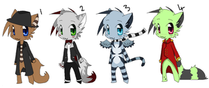 Chibi Anthros 1 - Closed by hoodedscarlet
