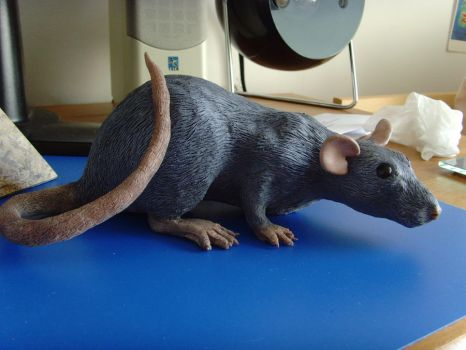 Rat sculpture WIP nearly done by philosophyfox