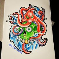 New school skull and octapus by Charlie-McClenaghan