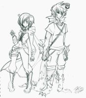 A Girl and The Fish Boy by QueenArtic