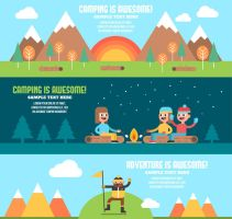 3 Summer Camping Banner Vector by FreeIconsdownload