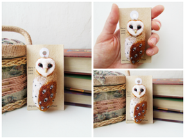 Barn Owl Brooch by mar-rie