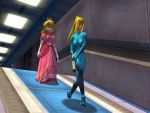 Zero Suit Samus escorting Peach by DarkFalco313
